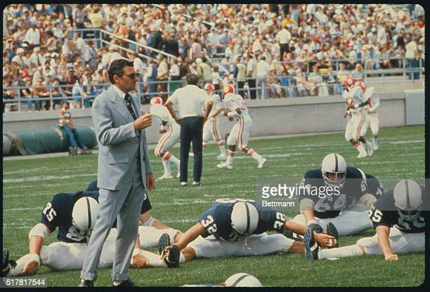 University Park Pennsylvania Penn State coach Joe Paterno puts his charges through their paces during a recent workout for their Sugar Bowl match...