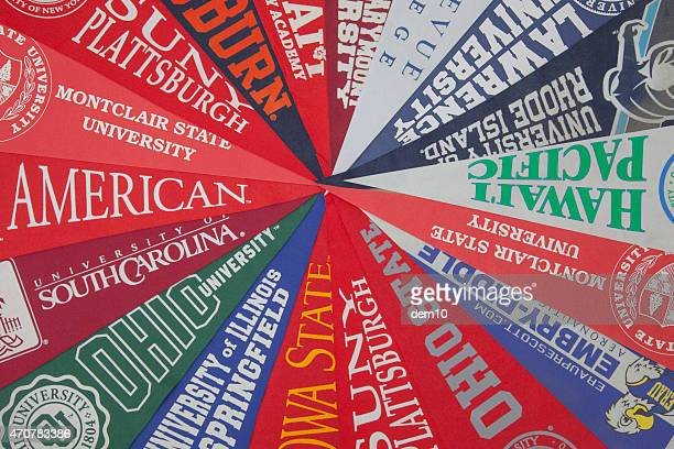 university pennants - pennant stock pictures, royalty-free photos & images