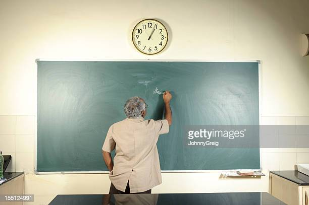 University Professor Writing on Blackboard