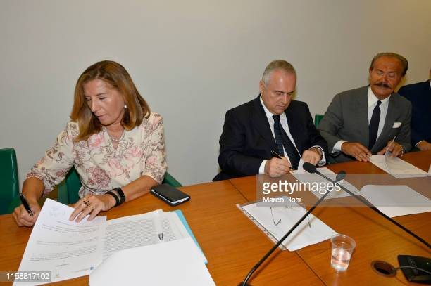 University rector UNINETTUNO Maria Amata Garito, SS Lazio President Claudio Lotito and Mauro Masi President of Igea Bank during a SS Lazio press...