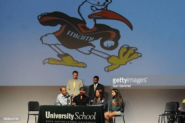 University School athlete Sebastian Diaz signs with the University of Miami Wednesday, February 6 in Davie, Florida.