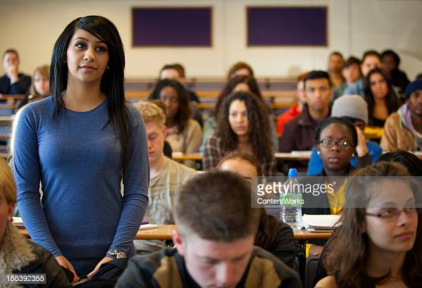University student standing in lecture room