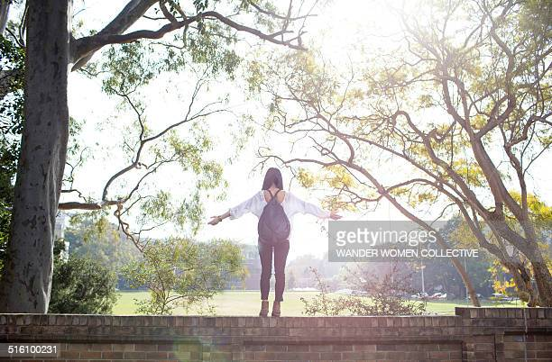 University student standing on wall with arms out