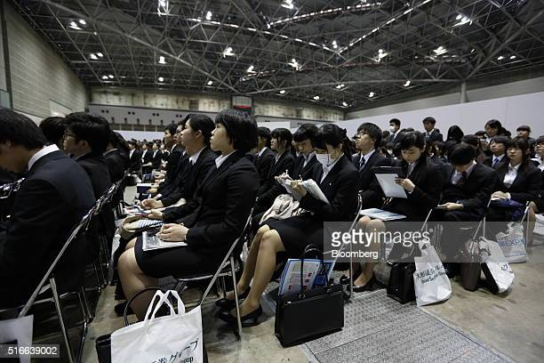 University students attend a job fair hosted by Mynavi Corp. In Tokyo, Japan, on Sunday, March 20, 2016. The Bank of Japan said there has been...
