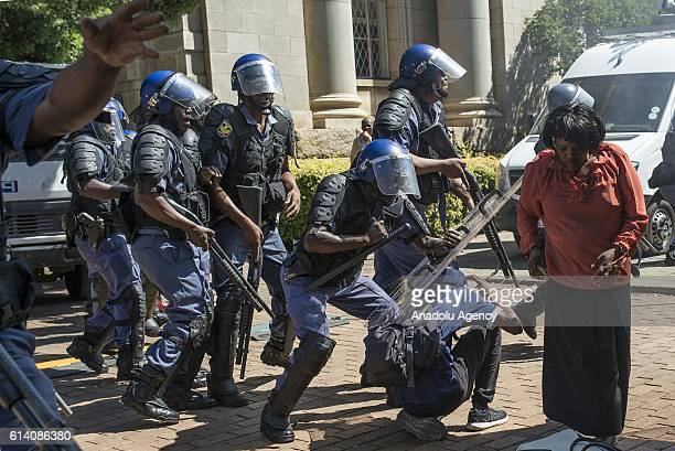 University students clash with police during a protest against the raise on tuition fees in Johannesburg South Africa on October 12 2016