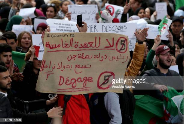 University students gather to protest against the fifth term of Algerian President Abdelaziz Bouteflika in Algiers Algeria on 26 February 2019...