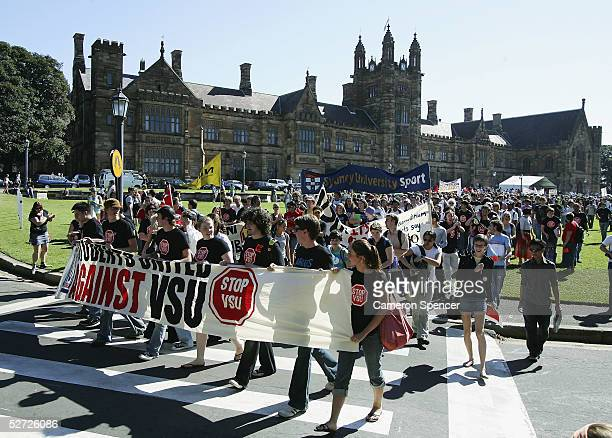 "University students hold a banner as they begin their rally at Sydney University during a ""National Day of Action Against Voluntary Student Unionism..."