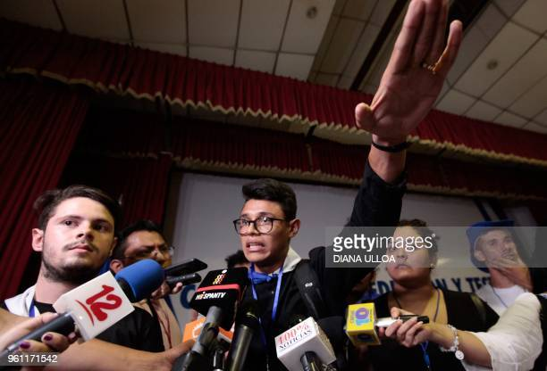 University students' leader Lesther Aleman talks to the press after the Churchmediated national dialogue talks between the government and the...