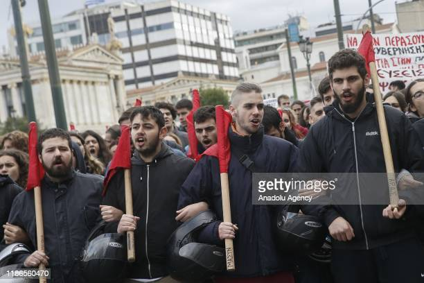 University students march to Sintagma Square during a protest against education reforms in Athens, Greece on December 5, 2019.