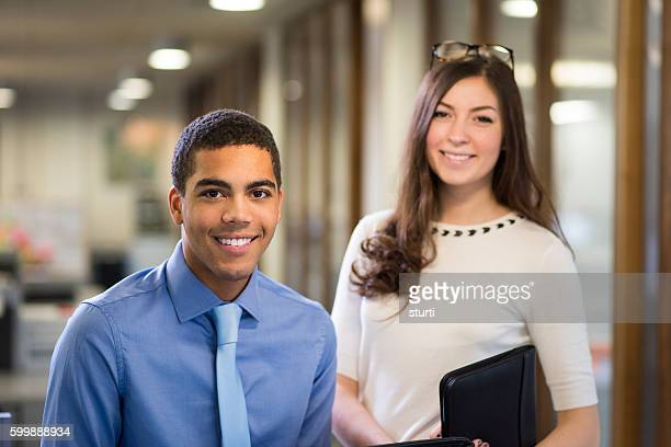 university students on a work placement . - businesswear stock pictures, royalty-free photos & images