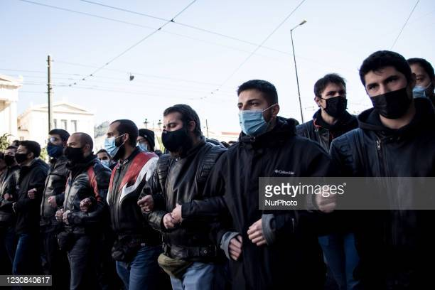 University students take part in a protest against the government decision on the changes planned for the education system in Athens, Greece on...