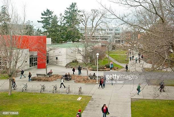 university students walk between classes - victoria canada stock pictures, royalty-free photos & images