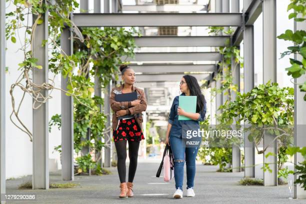 university students walking in campus. - campus stock pictures, royalty-free photos & images