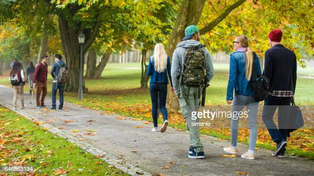 University students walking in campus
