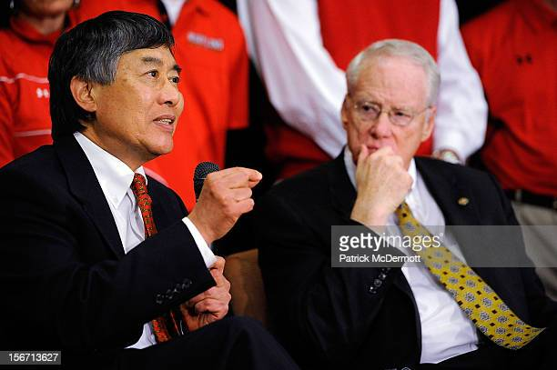 University System of Maryland Chancellor Brit Kirwan looks on as University of Maryland President Wallace D Loh speaks during a press conference...