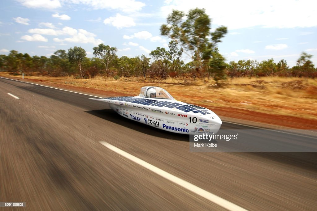 University Tokai Challenger vehicle 'Tokai' from Japan races between Renner Springs and Tennants Creek in the Challenger Class on Day 2 of the 2017 Bridgestone World Solar Challenge on October 9, 2017 in Elliott, Australia. Teams from across the globe are competing in the 2017 World Solar Challenge - a 3000 km solar-powered vehicle race between Darwin and Adelaide. The race begins on October 8th with the first car expected to cross the finish line on October 11th.