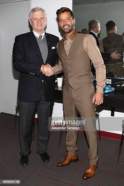 Univision CEO Randy Falco and singer Ricky Martin attend the 2015 Premios Lo Nuestros Awards at American Airlines Arena on February 19 2015 in Miami...