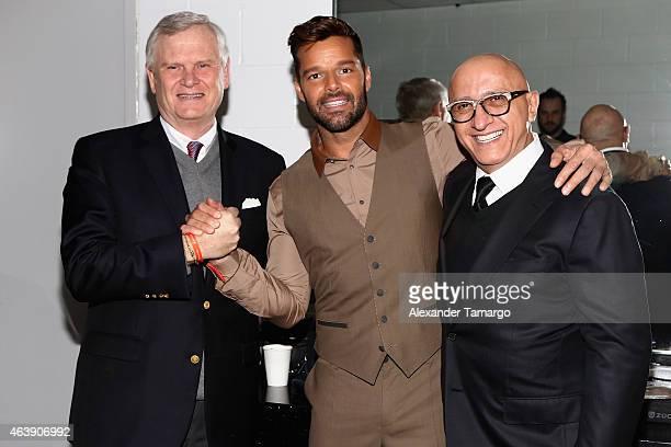 Univision CEO Randy Falco singer Ricky Martin and President of Programming and Content Univision Alberto Ciurana attend the 2015 Premios Lo Nuestros...