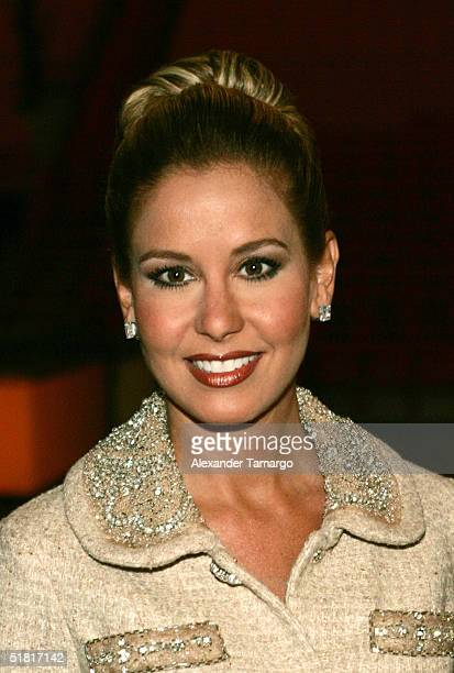 Univision personality Myrka Dellanos poses during the news conference to announce nominees for the Premios lo Nuestro awards at the American Airlines...