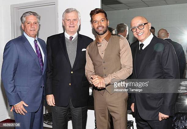 Univision President of Sales of Marketing Keith Turner Univision CEO Randy Falco singer Ricky Martin and President of Programming and Content...