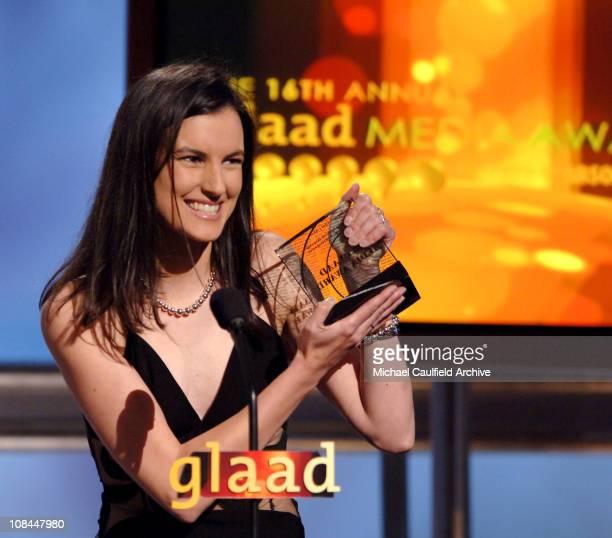 Univision Producer Karina Dalmas of Los Muxes Aqui y Ahora accepts Outstanding Spanish Language TV JournalismNewsmagazine Award