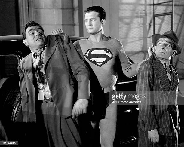 SUPERMAN unknown actor with George Reeves as 'Superman' Hollywood comic Lou Lubin is on right