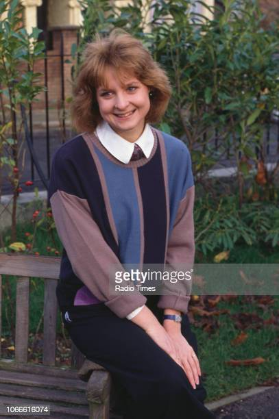 Unknown actress pictured on the set of the BBC soap opera 'EastEnders' circa 1986