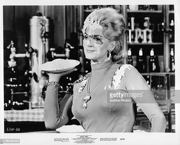 Unknown actress with pie in face in a scene from the film 'Beach Party' 1963