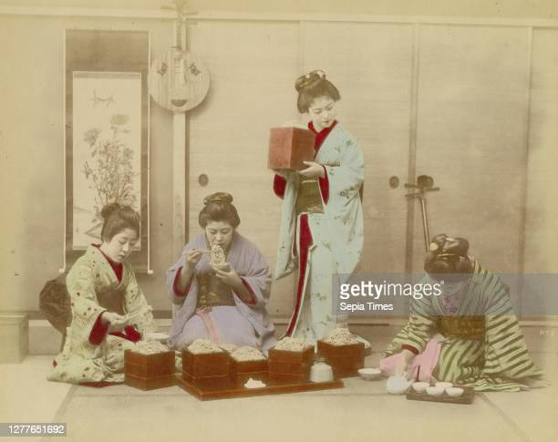 Unknown Artist, Group of Japanese Women in Kimonos Eating Noodles, after 1847, hand-colored albumen print?, 7 9/16 in. X 9 1/2 in. .