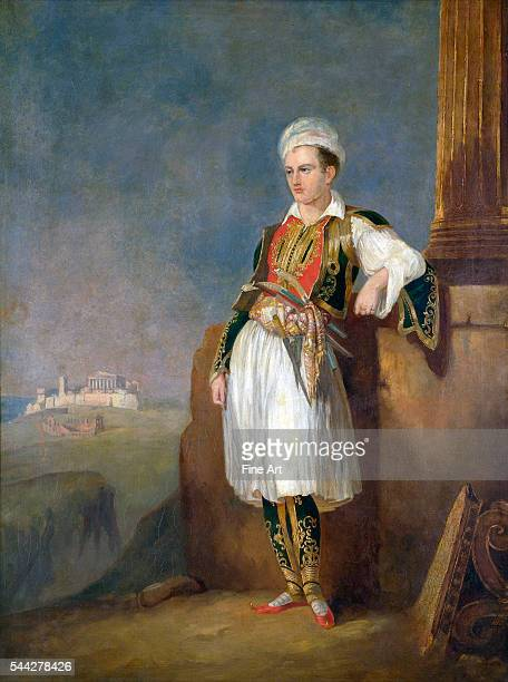 Unknown artist Portrait of Lord Byron in Athens Before the Acropolis oil on canvas 97 x 745 cm Benaki Museum Athens Greece