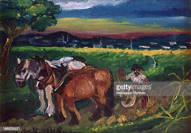 Unknown collocation Whole artwork view A farmer drives two horses in a field plowing it In the background a small town and a sunset