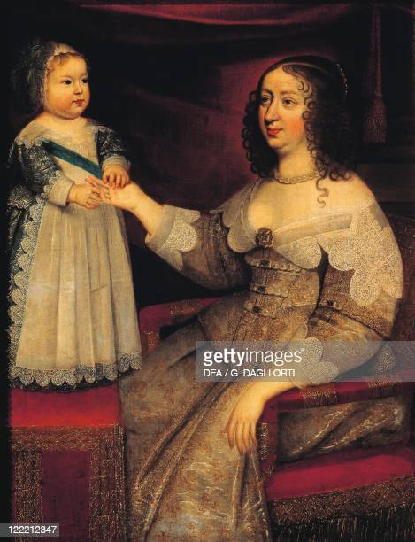 Unknown French painter Portrait of Anne of Austria Queen of France with Louis XIV as a Child