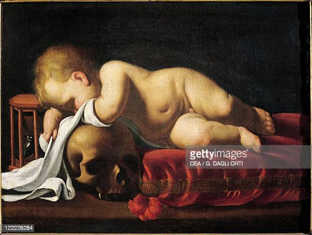 Unknown French painter Putto Sleeping on a Skull copy after Genovesino