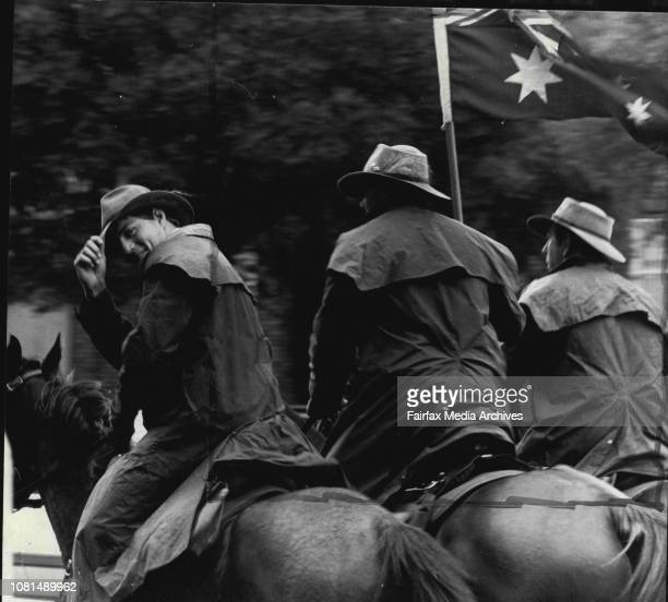 Unknown horsemen who rode down Broadway at 1100am today with a Mounted Police Escort accompanying them April 24 1985
