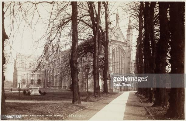 Unknown , James Valentine, Scottish, 1815 - 1879, Winchester Cathedral from the Avenue, between 1870 and 1880, albumen print from collodion on glass...