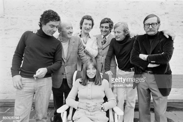 Unknown Michel Audiard unknown JeanLoup Dabadie unknown Jacques Lanzmann and Daniele Thompson attend a meeting of French screenwriters
