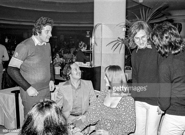 Unknown, Neil Sedaka, unknown and Ray Davies of The Kinks photographed at a reception for The Pointer Sisters at the Biba Restaurant in Kensington,...