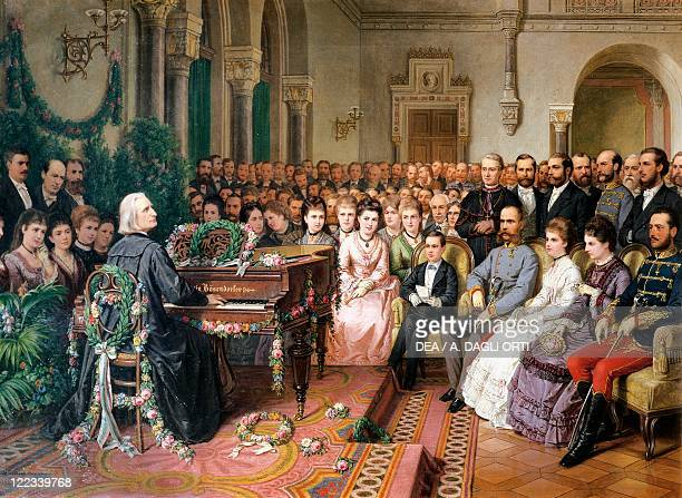 Unknown painter Franz Liszt Playing the Piano before the Imperial Family in Vienna