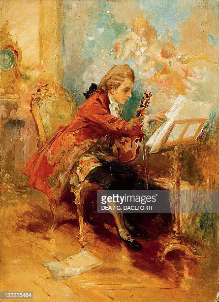 Unknown painter Wolfgang Amadeus Mozart Composing in his Room in Vienna