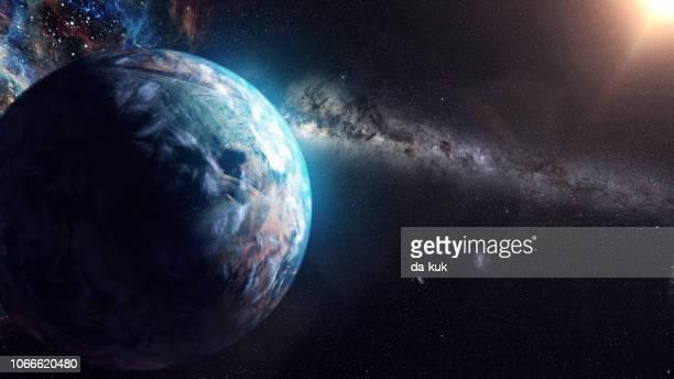 unbekannten planeten außerhalb unseres sonnensystems - orbiting stock-fotos und bilder