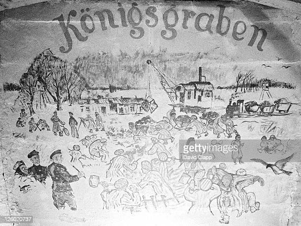 unknown prisoner drew this on the ceiling in a birkenau prisoner block depicting the building of a canal, birkenau concentration camp, auschwitz, poland - birkenau stock pictures, royalty-free photos & images
