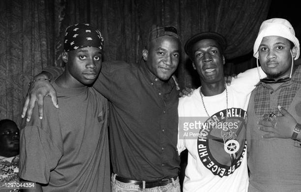 """Unknown, Q-Tip, Grandmaster Flash and Apache attend an album-release party for A Tribe Called Quest's """"The Low End Theory"""" on September 16, 1991 in..."""