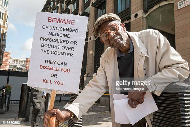 Unlicensed Medicine Protester in Westminster, London