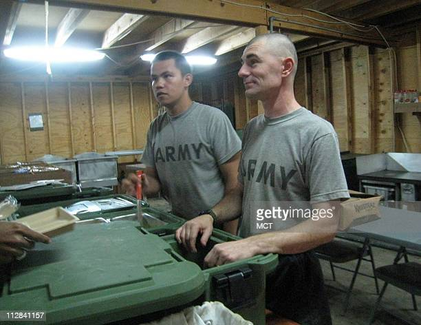 Unlike large US military bases in Iraq where the Halliburton subsidiary KBR provides hot meals and varied menus daily Army cooks make two hot meals a...