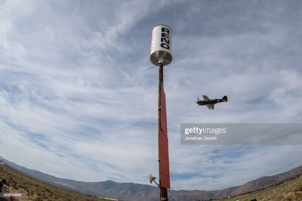 Unlimited class pilot Bernie Vasquez rounds the final pylon on his way to the finish at the Reno Championship Air Races on September 17, 2017 in Reno, Nevada.