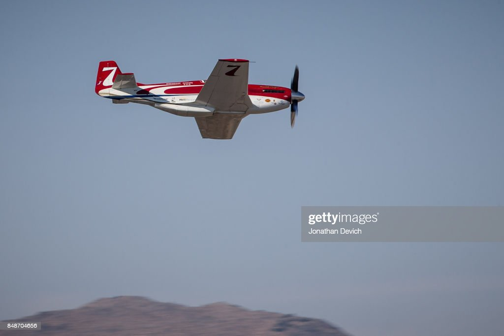 Unlimited gold class winner Jay Consalvi in his plane named Strega at the Reno Championship Air Races on September 17, 2017 in Reno, Nevada.