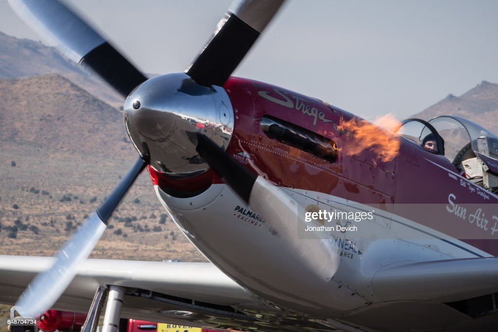 Unlimited gold class winning plane named Strega flames up during ignition at the Reno Championship Air Races on September 17, 2017 in Reno, Nevada.