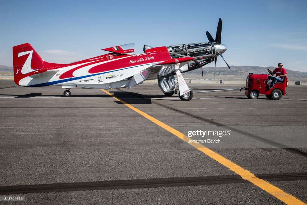 Unlimited gold class winning plane Strega gets towed onto the ramp before the final race at the Reno Championship Air Races on September 17, 2017 in Reno, Nevada.