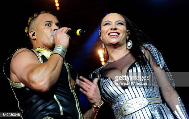 2 Unlimited perform durning the Hit Factory Live Christmas Cracker concert at the O2 arena in London