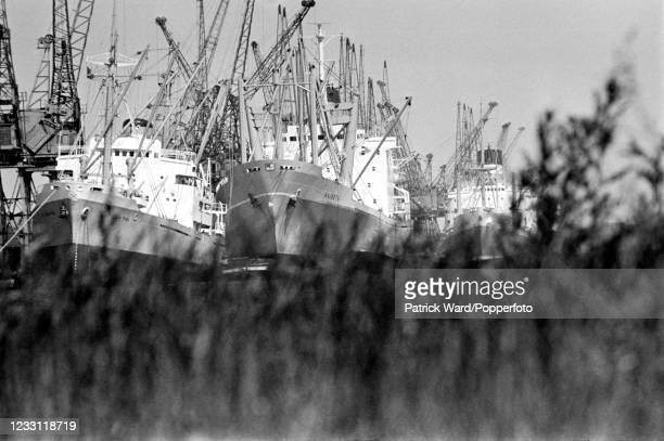 Unloading cargo ships at the Royal Docks in East London, circa June 1969. From a series of images to illustrate the many frustrations of living in...